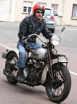 Foto: Juergen on his Standard Scout, France 2007 - by Anita Dray